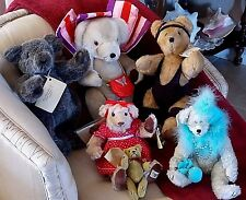 6 RARE VINTAGE TEDDY BEARS-ORIGINALS+BEARLY THERE CO- USA-UK~MUST SEE!  A3