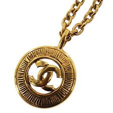 CHANEL Logo Kreis Halskette Goldton Frankreich Vintage Authentisch #JJ595 I