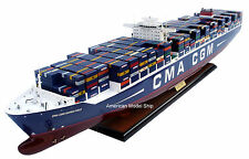 """CMA CGM MARCO POLO Container Ship Model 40"""" - Handmade Wooden Ship Model NEW"""