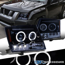For 05-12 Nissan Xterra Glossy Black Halo LED Projector Headlights Head Lamps