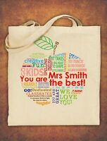 Large PERSONALISED Tote Bag Thank You Teacher School Gift 2020 Apple Design
