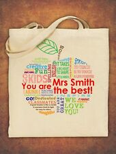 PERSONALISED Tote Bag Thank You Teacher School Gift 2018 - Apple Design