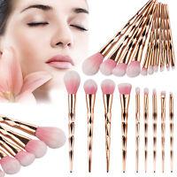 10 tlg Foundation Oval Pinsel Puderpinsel Kosmetik Brush Make Up Zahnbürste Set~