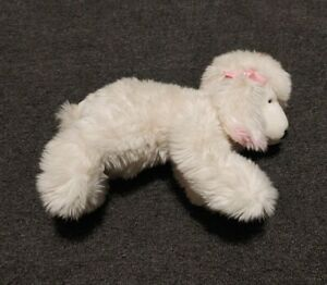 Animal Alley White Cream Poodle Puppy Dog w/ Pink Bows & Ear Tips Stuffed Plush