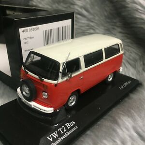 Minichamps 1:43 Volkswagen VW T2 Bus 1972 Red/White 400-053004