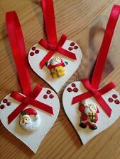 3 X Handmade Christmas Decorations Shabby Chic Wood Heart Santa Embellishments