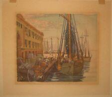 Vintage Louis Novak 'Fish Pier, Boston' Sailboats Boats Woodcut Woodblock Print