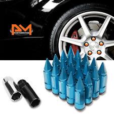 M12X1.5 Sky Blue JDM Cone Spiked Cap Wheel Lug Nut+Extension 23mmx83mm Tall 20Pc