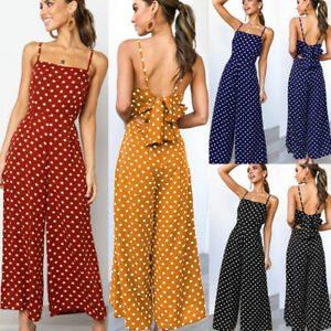 Jumpsuits Women Polka Dots Loose Trousers Wide Leg Pants Rompers Backless