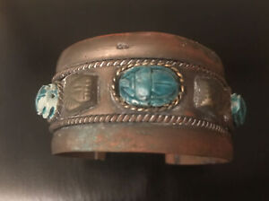 Vintage Carved Stone Egyptian Revival Scarab Pharaoh Brass Cuff Bracelet