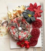 RED BLACK & CREAM 15 Flowers & Roses 7 Styles PAPER & SILK 15-70mm VA2