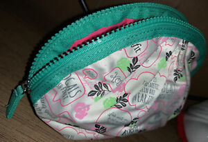Benefit Bad Gals W.o.W. XOXO Pink Cream Green Cosmetic Makeup Zippered Bag New