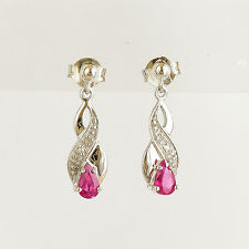 RUBY DIAMOND EARRINGS REAL 9K  375 WHITE GOLD NATURAL RUBIES DIAMONDS DROPS NEW