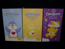 3 CARE BEARS COZY HEART PENGUIN PLAYFUL MONKEY FUNSHINE BEAR VHS KIDS MOVIE TAPE
