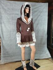 CA Costume Eskimo Kisses Polar Princess Short Dress Hood Brown Light Faux Fur M