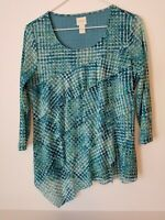 CHICO'S Layered Blouse Sz 0 Small Top 3/4 Sleeve Turquoise Multi Tunic EUC
