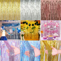 Metallic Foil Fringe Curtain Tinsel Kid Birthday Party Decor Wedding Home Supply