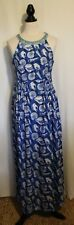 LEONA EDMISTON ~ Periwinkle Blue White Seashell Beaded Sleeveless Party Dress M