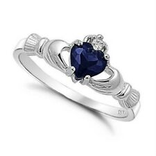 .925 Sterling Silver Ring size 10 CZ Claddagh Heart Blue Sapphire Ladies New