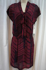 DKNYC Dress Sz M Pomegranate Red Black Combo Neck Tie Business Evening Dress