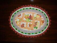 New Handmade Oval Crochet Doily--Fall Leaves, Acorns/Squash