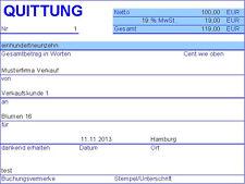PC Quittung - Quittungsprogramm mit Journal (MS Excel) (mit/ohne MwSt)