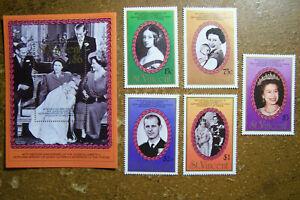 Saint Vincent #1017-1022 Stamps & Souvenir Sheet 1987 MNH Wedding Anniversary