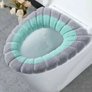 Toilet Seat Cover Mat Bathroom Winter Soft Thermal Closestool Cushions Washable