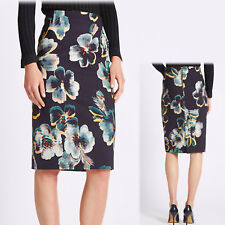 New PER UNA Floral Print PENCIL SKIRT ~ Size 14 ~ BLACK MIX