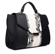 *NEW Celebrity Inspired Faux Leather Snake Skin Tote Bag Handbag Black & Beige