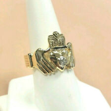 14K Mens Claddagh ring with Diamond ~ NO RESERVE ~ SOLID GOLD HEAVY !!!!!!!!!!!!