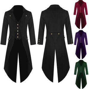 Mens Retro Tailcoat Long Jacket Gothic Steampunk Victorian Coat Tuxedo Medieval