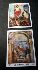 Souvenir Sheet Turks & Caicos  Stamp Scott#  876-877 Christmas 1990  MNH  C506