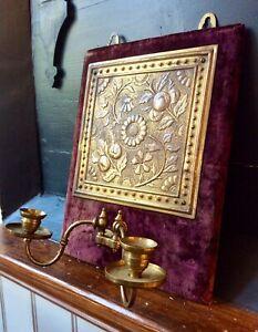 Antique Victorian ARTS & CRAFTS Ornate Brass Wall Sconce Candle Holder,Velvet