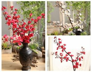 2pcs Artificial Flowers Plum Blossom Stems Winter Plum Tree Branch Flowers Decor