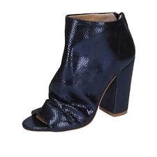 scarpe donna ME + BY MARC ELLIS 36 EU tronchetti blu pelle BP120-36