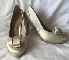 Coast Beige Champagne Satin Court Shoe Stiletto High Heel Size 6