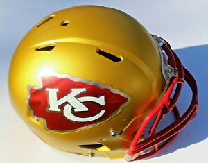 Kansas City Chiefs Custom Speed Blaze Football Helmet QB Decals Used Mahomes