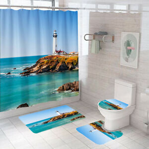 Beacon Shower Curtain Set Thick Bathroom Rugs Bath Mat Non-Slip Toilet Lid Cover