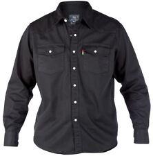 Duke London Mens King Size Big Tall Long Sleeve Western Denim Shirt Top 5xl Black Ks1024