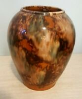 Vintage Art Pottery Spongeware Brown Ceramic Vase