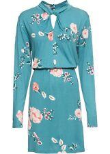 Jerseykleid Gr. 48/50 Mattkobalttürkis Mini-Kleid Langarm Freizeitkleid Neu*
