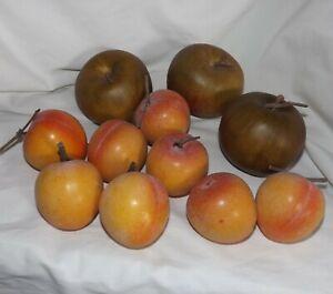 Artificial Fake Faux Fruit Apples Peaches Lifelike Home Decor Lot 11 pcs