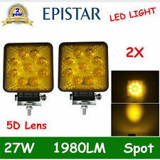 2X 27W LED WORK LIGHT OFFROAD SPOT DRIVING FOG Amber Warning Lamp 5D LENS 12V24V