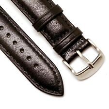 18mm Black Genuine Leather Watch Band Stainless Buckle With 2 Spring Bar