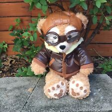 "DISNEY DUFFY BEAR 17"" WITH AVIATOR PILOT CLOTHES OUTFIT BOMBER JACKET COSTUME"