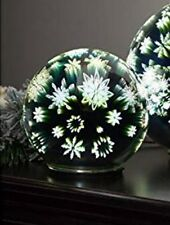 Stunning LED Glass Orb Christmas Decoration - Snowflake - Silver - 6 inches#1P26