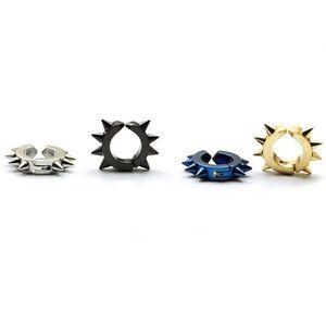 With Eight Cone Tip titanium steel Punk Men ear Clip-on earrings No Pierced 2pcs