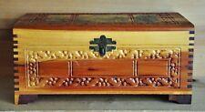 Vintage Carved Ornate Cedar Wood Jewelry Keepsake Box Lake Forest Scene & Clasp