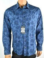DKNY Mens Dark Blue Shirt New S L XXL Front Button Paisley Floral Long Sleeve